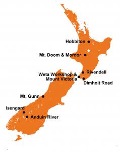 LOTR map New Zealand