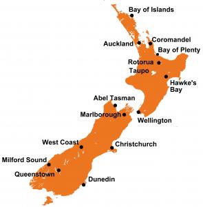 Nieuw Zeeland bestemmingen
