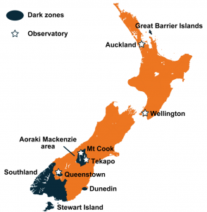 Stargazing New Zealand Map